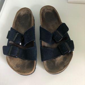Woman's Birkenstock Navy Slip On Sandals 37